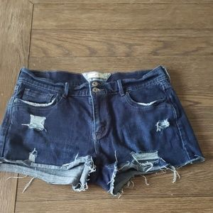 Levi's distressed dark denim shorts